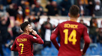 Calcio, Serie A: AS Roma - Sassuolo, Roma, stadio Olimpico, 30 dicembre 2017.<br /> Roma's Lorenzo Pellegrini celebrates after scoring during the Italian Serie A football match between AS Roma and Sassuolo at Rome's Olympic stadium, 30 December 2017.<br /> UPDATE IMAGES PRESS/Isabella Bonotto