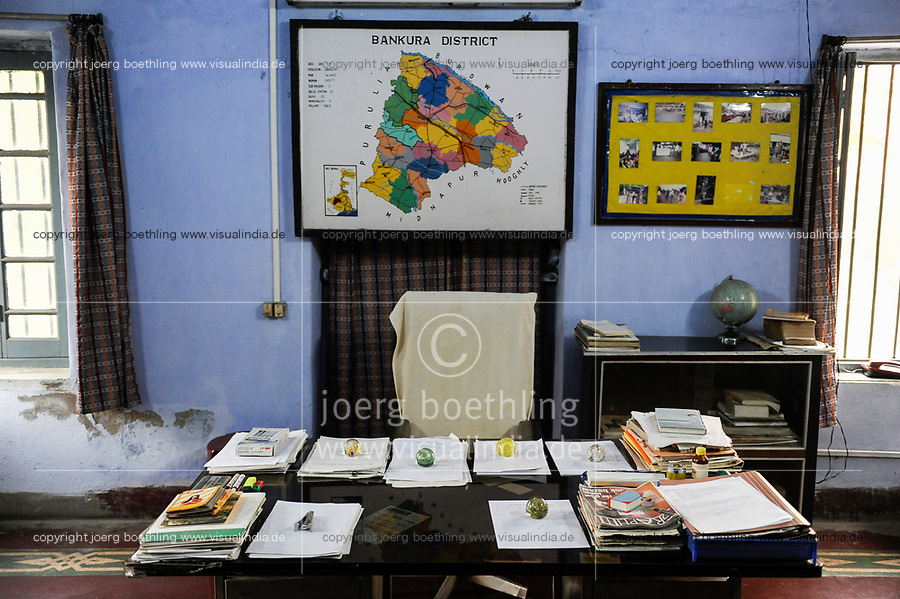INDIA Westbengal, clerk office with papers and files, pending papers weighted with glass balls, a measure of red tape