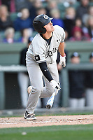Third baseman Jonah Bride (20) of the South Carolina Gamecocks bats in the Reedy River Rivalry game against the Clemson Tigers on Saturday, March 3, 2018, at Fluor Field at the West End in Greenville, South Carolina. Clemson won, 5-1. (Tom Priddy/Four Seam Images)