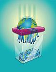 Illustrative image of shredder shredding earth over colored background representing environment degradation
