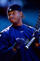 Ken Griffey, jr. of the Seattle Mariners plays in a baseball game at Edison International Field during the 1998 season in Anaheim, California. (Larry Goren/Four Seam Images)