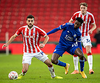9th January 2021; Bet365 Stadium, Stoke, Staffordshire, England; English FA Cup Football, Carabao Cup, Stoke City versus Leicester City; Tommy Smith of Stoke City under pressure from Wilfred Ndidi of Leicester City