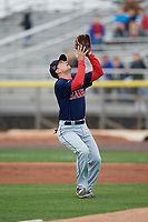 Salem Red Sox second baseman Nick Lovullo (20) catches a popup during the first game of a doubleheader against the Potomac Nationals on May 13, 2017 at G. Richard Pfitzner Stadium in Woodbridge, Virginia.  Potomac defeated Salem 6-0.  (Mike Janes/Four Seam Images)