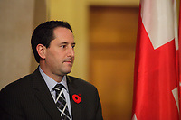 November 5, 2012 - Montreal, Quebec, CANADA -  Michael Applebaum listen while<br />  Montreal Mayor Gerald Tremblay adress the media and live TV to announce his official and immediate resignation after  a few days of avoiding public appeareance and the medias, following troubling allegations at Charbonneau Commission regarding his knowledge of corruption at City Hall.Mayor Tremblay denies those allegation.