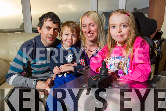 Mikayla O'Sullivan with her parents Mike and Karen and Brother Ryan at their house in Ballyheigue.