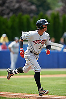 Tri-City ValleyCats shortstop Miguelangel Sierra (13) runs to first base during a game against the Batavia Muckdogs on July 16, 2017 at Dwyer Stadium in Batavia, New York.  Tri-City defeated Batavia 13-8.  (Mike Janes/Four Seam Images)