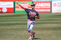 Peoria Chiefs third baseman Danny Diekroeger (7) warms up prior to a game against the Wisconsin Timber Rattlers on April 25th, 2015 at Fox Cities Stadium in Appleton, Wisconsin.  Wisconsin defeated Peoria 2-0.  (Brad Krause/Four Seam Images)