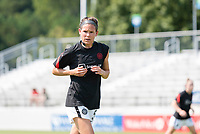 CARY, NC - SEPTEMBER 12: Emily Menges #5 of the Portland Thorns warms up before a game between Portland Thorns FC and North Carolina Courage at WakeMed Soccer Park on September 12, 2021 in Cary, North Carolina.