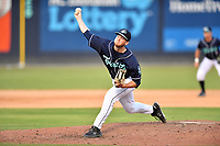 Asheville Tourists pitcher Michael Horrell (26) delivers a pitch during a game against the Winston-Salem Dashon June 26, 2021 at McCormick Field in Asheville, NC. (Tony Farlow/Four Seam Images)