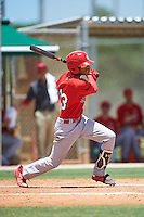 GCL Cardinals shortstop Delvin Perez (23) at bat during the second game of a doubleheader against the GCL Marlins on August 13, 2016 at Roger Dean Complex in Jupiter, Florida.  GCL Cardinals defeated GCL Marlins 2-0.  (Mike Janes/Four Seam Images)