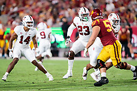 LOS ANGELES, CA - SEPTEMBER 11: Jacob Mangum-Farrar, Ryan Johnson during a game between University of Southern California and Stanford Football at Los Angeles Memorial Coliseum on September 11, 2021 in Los Angeles, California.
