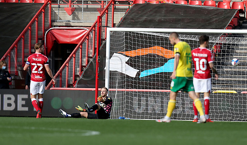 31st October 2020; Ashton Gate Stadium, Bristol, England; English Football League Championship Football, Bristol City versus Norwich; Daniel Bentley of Bristol City looks dejected after Teemu Pukki of Norwich City scores for 1-0 in 6th minute