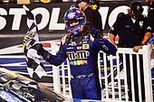 Monster Energy NASCAR Cup Series<br /> Bass Pro Shops NRA Night Race<br /> Bristol Motor Speedway, Bristol, TN USA<br /> Saturday 19 August 2017<br /> Kyle Busch, Joe Gibbs Racing, M&M's Caramel Toyota Camry, Celebrates after winning.<br /> World Copyright: John K Harrelson<br /> LAT Images