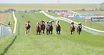 Good Old Boy Lukey (no. 1), ridden by Ryan Moore and trained by Richard Fahey, wins the group 2 Superlative Stakes for two year olds on July 13, 2013 at Newmarket Racecourse in Newmarket, Suffolk, United Kingdom.  (Bob Mayberger/Eclipse Sportswire)