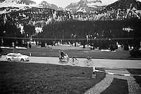 race leaders Philip Deignan (IRL/SKY) & Julian Arredondo (COL/Trek Factory Racing) are the first over the top of the Passo San Pellegrino (1918m)<br /> <br /> 2014 Giro d'Italia<br /> stage 18: Belluno - Rifugio Panarotta (Valsugana), 171km