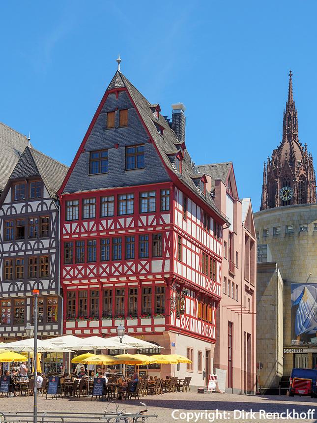 Fachwerkhäuser am Römerberb, Frankfurt, Hessen, Deutschland, Europa<br /> half-timbered houses at Römerberb, Frankfurt, Hesse, Germany, Europe