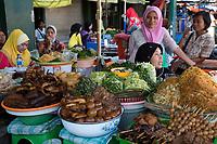 Yogyakarta, Java, Indonesia.  Sidewalk Food Stand, Malioboro Street.