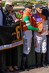 ARCADIA, CA  JUNE 2:   Mike Smith and the connections in the winners circle after #6 Unique Bella wins the Beholder Mile (Grade l) on June 2, 2018 at Santa Anita Park in Arcadia, CA. (Photo by Casey Phillips/Eclipse Sportswire/Getty Images)