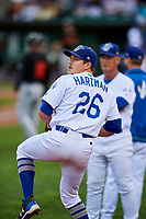 Zach Hartman (26) of the Ogden Raptors warms up during the game against the Great Falls Voyagers at Lindquist Field on September 14, 2017 in Ogden, Utah. The Raptors defeated the Voyagers 7-4 in Game One of the Pioneer League Championship. (Stephen Smith/Four Seam Images)