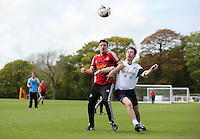 Pictured: Scott Helmich.Tuesday 06 May 2014<br /> Re: Members of the local press play football against Swansea City FC coaches and members of staff at the Club's training ground in Fairwood, south Wales.