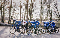 The Team Quickstep Floors race take-over: hijacking it by simply riding off the front of the peloton with 7 (!) riders of the team (and 3 hangers-on holding on for dear life...).<br /> (eventual winner) Niki Terpstra (NED/Quick-Step Floors) leading the way in a factual TTT of sorts...<br /> <br /> 50th GP Samyn 2018<br /> Quaregnon > Dour: 200km (BELGIUM)
