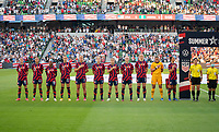 AUSTIN, TX - JUNE 16: The USWNT stands during the national anthem before a game between Nigeria and USWNT at Q2 Stadium on June 16, 2021 in Austin, Texas.