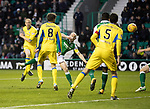 Hibs v St Johnstone…18.11.17…  Easter Road…  SPFL<br />Steven Anderson's shot is saved<br />Picture by Graeme Hart. <br />Copyright Perthshire Picture Agency<br />Tel: 01738 623350  Mobile: 07990 594431