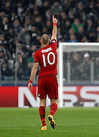 Calcio, andata degli ottavi di finale di Champions League: Juventus vs Bayern Monaco. Torino, Juventus Stadium, 23 febbraio 2016. <br /> Bayern's Arjen Robben celebrates after scoring during the Champions League first leg round of 16 football match between Juventus and Bayern at Turin's Juventus Stadium, 23 February 2016.<br /> UPDATE IMAGES PRESS/Isabella Bonotto