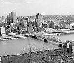 Pittsburgh PA:  View of the city's skyline.  View includes the Grant, William Penn Place, and Gulf Buildings, and the construction of the Blue Cross Building on Smithfield and Fort Pitt Boulevard.