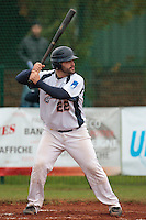 17 October 2010: Vincent Ferreira of Savigny is seen at bat during Rouen 10-5 win over Savigny, during game 2 of the French championship finals, in Savigny sur Orge, France.