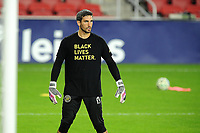 WASHINGTON, DC - OCTOBER 28: Andrew Tarbell #13 of Columbus Crew SC warming up during a game between Columbus Crew and D.C. United at Audi Field on October 28, 2020 in Washington, DC.