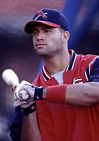 Albert Pujols of the St. Louis Cardinals during a 2001 season MLB game at Dodger Stadium in Los Angeles, California. (Larry Goren/Four Seam Images)
