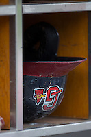 A Gwinnett Braves batting helmet sits in a cubby hole during the game against the Charlotte Knights at BB&T BallPark on May 22, 2016 in Charlotte, North Carolina.  The Knights defeated the Braves 9-8 in 11 innings.  (Brian Westerholt/Four Seam Images)