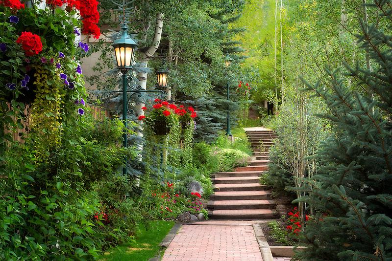 Pathway in garden in Vail Village, Vail, Colorado