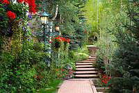 Pathway in garden in Vail Village, Vail, Colorado