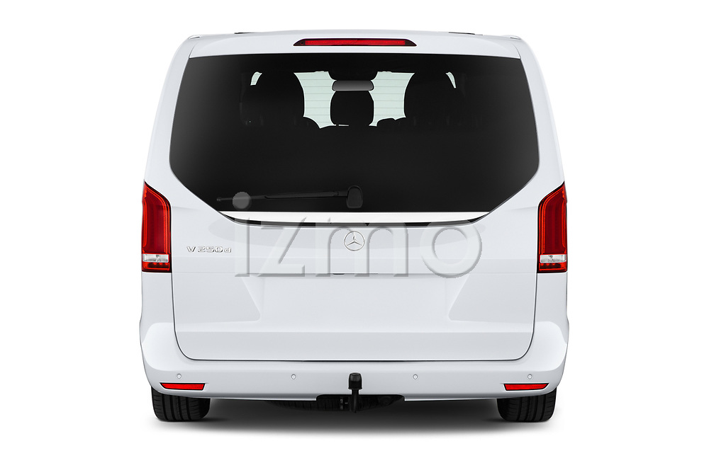 Straight rear view of a 2020 Mercedes Benz V-class Avantgarde 5 Door Mini Van stock images