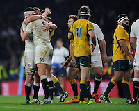 Chris Robshaw of England celebrates with Tom Wood of England after winning the QBE International match between England and Australia at Twickenham Stadium on Saturday 29th November 2014 (Photo by Rob Munro)