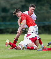 Wednesday 21st August 2019 | Ulster U19 vs Munster U19  <br /> <br /> Aaron Leahy Is tackled by Reece Malone and Jack Gamble during the U19 Inter-Pro between Ulster and Munster at Bangor Grammar School, Bangor, County Down, Northern Ireland.. Photo by John Dickson - DICKSONDIGITAL
