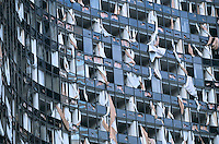 Windows blown of hotel after Hurricane Katrina in New Orleans.