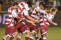 FC Dallas team celebrates a Kenny Cooper goal during a MLS match. FC Dallas beat the LA Galaxy 2-1 at the Home Depot Center in Carson, California, Thursday, April 12, 2007.