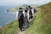 An Hasidic family walk along the coastal path from Aberystwyth towards Clarach. ..