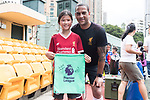 Phil Babb pose for photo with child for the launch of the Premier League Asia Trophy 2017 at the Hong Kong Football Club on 01 June 2017 in Hong Kong, China. Photo by Chris Wong / Power Sport Images