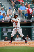 Indianapolis Indians shortstop Gift Ngoepe (17) bats during a game against the Buffalo Bisons on August 17, 2017 at Coca-Cola Field in Buffalo, New York.  Buffalo defeated Indianapolis 4-1.  (Mike Janes/Four Seam Images)