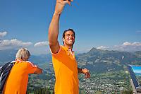 "Austria, Kitzbuhel, Juli 15, 2015, Tennis, Davis Cup, Dutch team on top of the ""Hahnenkam""  Jesse Huta Galung makes a selfie<br /> Photo: Tennisimages/Henk Koster"