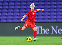 ORLANDO, FL - FEBRUARY 21: Sophie Schmidt #13 of Canada takes a shot during a game between Canada and Argentina at Exploria Stadium on February 21, 2021 in Orlando, Florida.