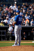 Toronto Blue Jays pitcher Phillippe Aumont (50) during a Spring Training game against the New York Yankees on February 22, 2020 at the George M. Steinbrenner Field in Tampa, Florida.  (Mike Janes/Four Seam Images)