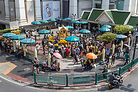 Bangkok, Thailand.  Ewaran Shrine Viewed from Skytrain Level.