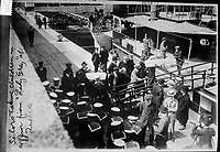 May 29, 1914.  File Photo -  Photograph shows sailors taking coffins from the Lady Grey at Quebec City, Canada. Coffins contained bodies of passengers from the RMS Empress of Ireland which sank on the Saint Lawrence River,