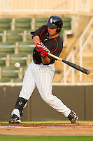 Drew Lee #11 of the Kannapolis Intimidators takes his cuts against the Delmarva Shorebirds at Fieldcrest Cannon Stadium on May 23, 2011 in Kannapolis, North Carolina.   Photo by Brian Westerholt / Four Seam Images
