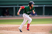 Right fielder Cole Brannen (5) of the Greenville Drive during a game against the Bowling Green Hot Rods on Sunday, May 9, 2021, at Fluor Field at the West End in Greenville, South Carolina. (Tom Priddy/Four Seam Images)